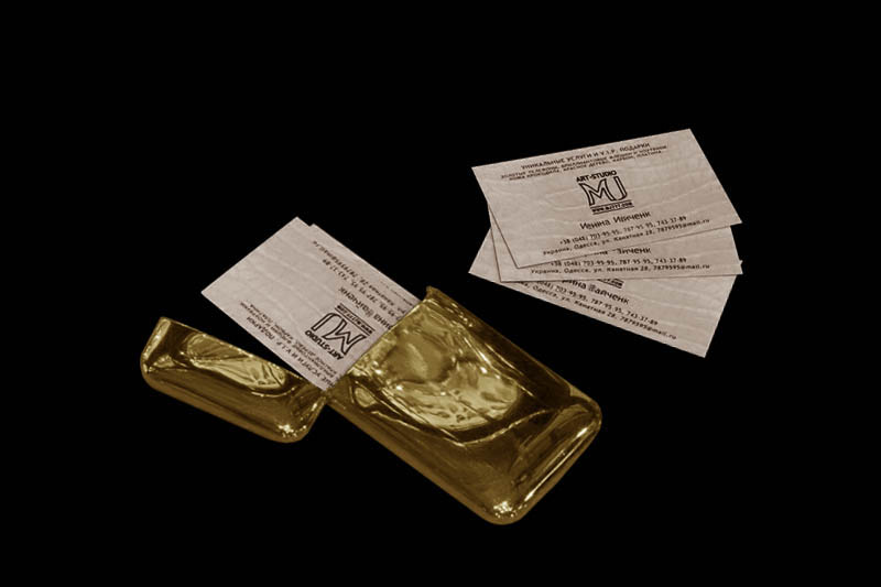 Solid gold business card case best business cards for Most expensive business card