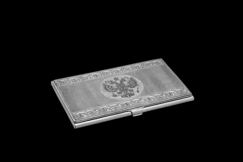 Business Card Holder Made Of White Gold Sterling Silver Or Platinum With Engraved Coat Arms The Russian Federation In Individual Orders Any Credit